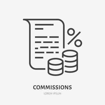 Deposit interest flat line icon, credit, loan commission. Thin linear logo for financial services, cashback payment, tax fee, invoice with money and percent sign vector illustration.