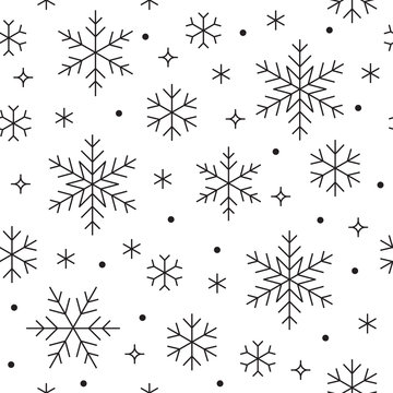 Seamless pattern with black snowflakes on white background. Flat line snowing icons, cute snow flakes repeat wallpaper. Nice element for christmas banner, wrapping. New year traditional ornament.
