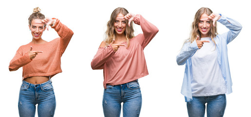 Young beautiful young woman wearing casual look over white isolated background smiling making frame with hands and fingers with happy face. Creativity and photography concept.