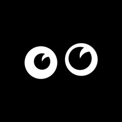 Cartoon Funny Eyes In Darkness Vector Illustration