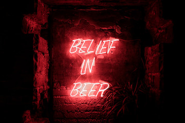 Red shining neon light beer quote