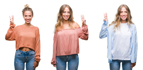 Young beautiful young woman wearing casual look over white isolated background showing and pointing up with fingers number three while smiling confident and happy.
