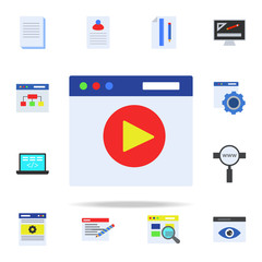 video player in browser colored icon. Programming icons universal set for web and mobile
