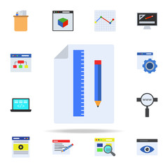 pencil, ruler and paper colored icon. Programming icons universal set for web and mobile