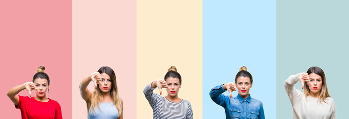 Collage of young beautiful woman over colorful vintage stripes isolated background looking unhappy and angry showing rejection and negative with thumbs down gesture. Bad expression.