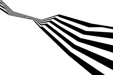 Abstract black and white stripes bent ribbon geometrical shape Fotoväggar