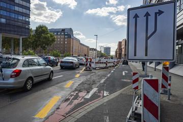 Verkehrsführung an einer Baustelle
