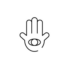 Hamsa hand icon. Element of judaism for mobile concept and web apps iicon. Thin line icon for website design and development, app development. Premium icon