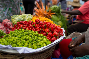 Peppers selection in the market
