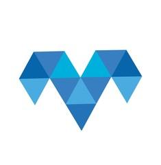 m,v, mv, vm initials triangle polygonal diamond logo