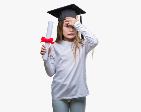 Young beautiful girl wearing graduate cap holding degree over isolated background stressed with hand on head, shocked with shame and surprise face, angry and frustrated. Fear and upset for mistake.