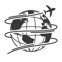 Travel icons with airplane fly around the earth
