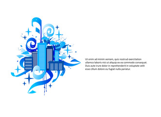 Vector compositions with Silhouettes of buildings