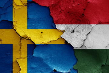 flags of Sweden and Hungary
