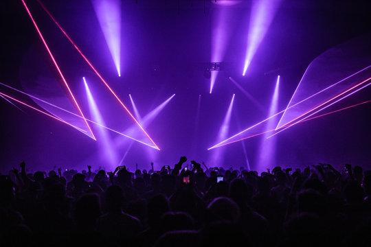 Purple concert laser show