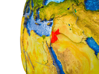 Jordan highlighted on 3D Earth with visible countries and watery oceans.