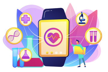 Smartwatch health tracker concept vector illustration.