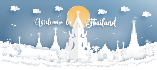Wall Mural - Travel poster and postcard with big Buddha, temple, Thailand landmarks in paper art style, vector illustration.