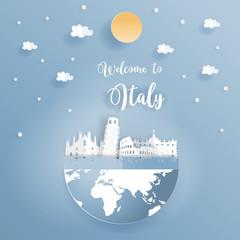 Fototapete - Travel poster or postcard promoting world famous landmarks of Italy in paper art design vector illustration.