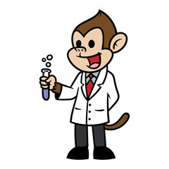 Cartoon Scientist Monkey