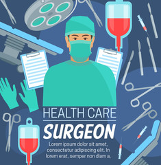 Surgery medical center, surgeon in mask