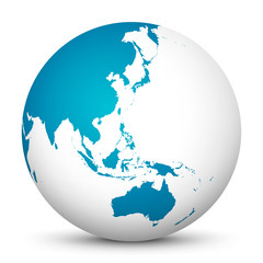 White 3D Globe Icon with Blue Continents. Focus on Australia, Japan, India, Korea and New Zealand