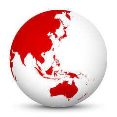 White 3D Globe Icon with Red Continents. Focus on Australia, Japan, India, Korea and New Zealand