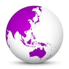 White 3D Globe Icon with Purple Continents. Focus on Australia, Japan, India, Korea and New Zealand