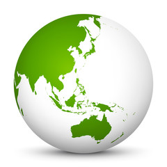White 3D Globe Icon with Green Continents. Focus on Australia, Japan, India, Korea and New Zealand