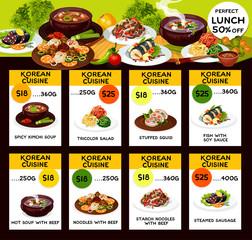 Korean cuisine food dishes, vector