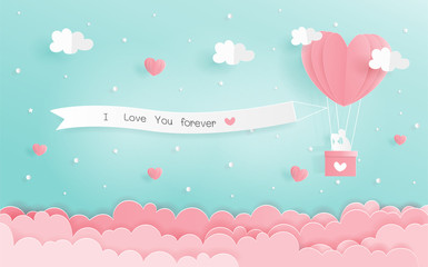 Paper origami of love concept with heart balloons and signboard hanging in the sky, Valentine's and wedding card in paper cut style vector. Wall mural