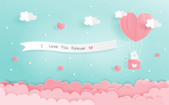 Paper origami of love concept with heart balloons and signboard hanging in the sky, Valentine's and wedding card in paper cut style vector.