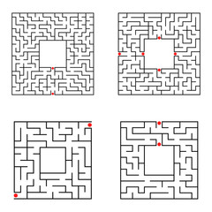 Black abstract square maze with a place for your image. Set of four puzzles. An interesting and useful game for kids. A simple flat vector illustration isolated on a white background.