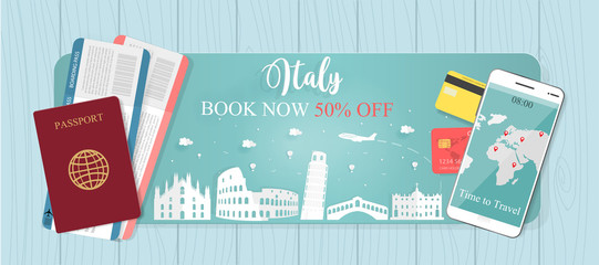 Travel banner with passport and tickets, World famous landmark trip in Italy, from discount 50% off. Vector illustration.