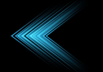 Abstract blue light arrow speed direction on black design modern futuristic background vector illustration.