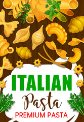 Italian pasta in restaurant and cafe menu