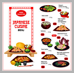 Japanese cuisine traditional dishes menu