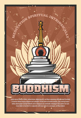 Buddhism religion, stupa and lotus flower