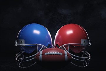 3d rendering of a leather ball standing between two American football helmets with face guards.