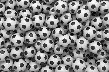 3d rendering of a heap of identical football balls lying in pig endless pile shown from the top.