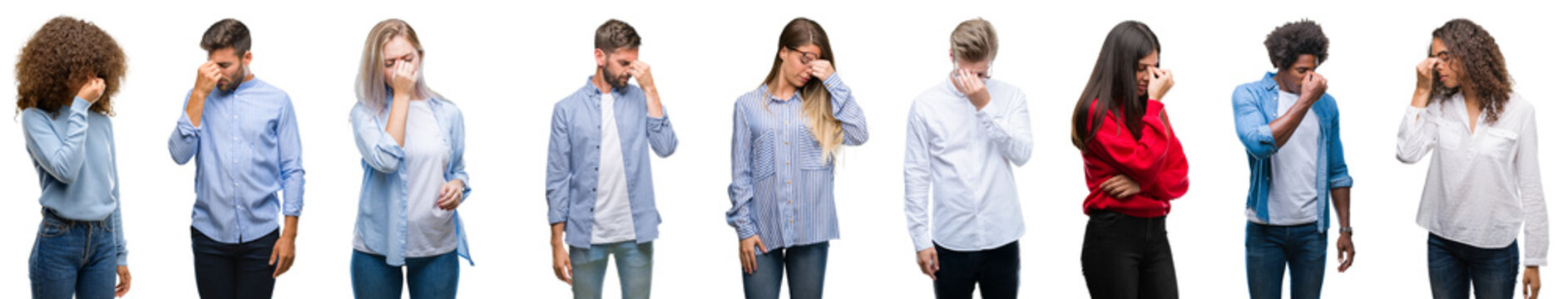 Composition of african american, hispanic and caucasian group of people over isolated white background tired rubbing nose and eyes feeling fatigue and headache. Stress and frustration concept.