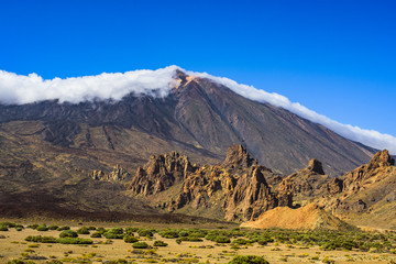 Great view to Teide volcano and rocks Garcia Roques. Las Cañadas del Teide. Tenerife. Canary Islands..Spain