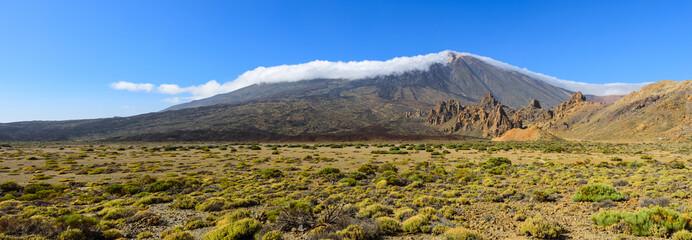 Stunning panorama of Teide volcano and rocks Garcia Roques. Las Cañadas del Teide. Tenerife. Canary Islands..Spain