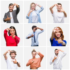 Collage of group of young people woman and men over isolated background smiling making frame with hands and fingers with happy face. Creativity and photography concept.