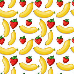 Banana and strawberry seamless background
