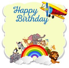 Wild animals on happy birthday template