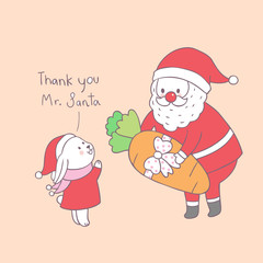 Cartoon cute Christmas Santa Claus and little rabbit vector.