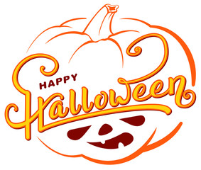 Happy Halloween text greeting card on orange pumpkin lantern outline