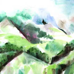 A watercolour landscape, a view over misty mountains with copy space