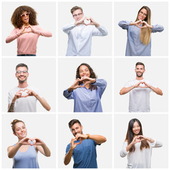 Collage of group of young people woman and men over white solated background smiling in love showing heart symbol and shape with hands. Romantic concept.